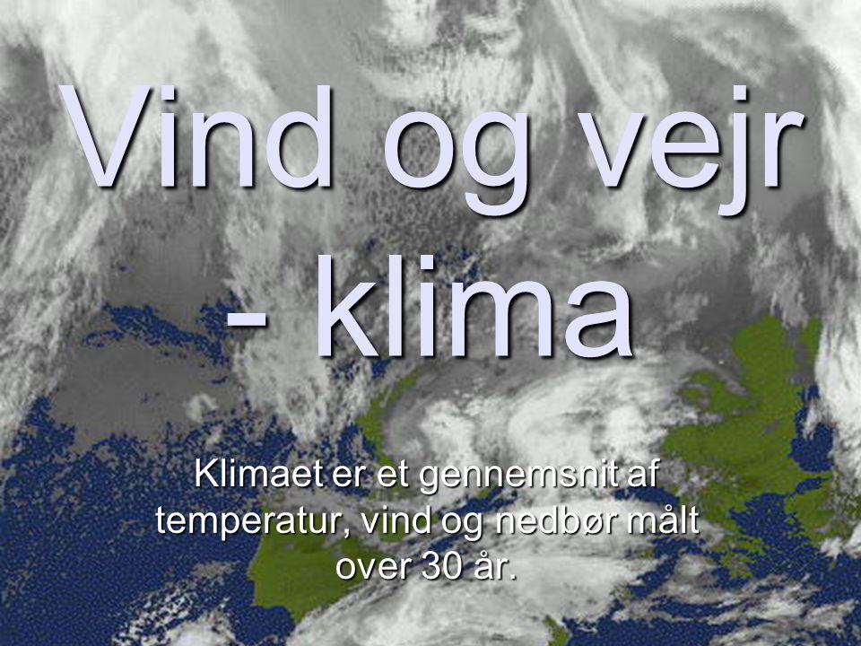 Vind og vejr - klima Klimaet er et gennemsnit af temperatur, vind og nedbør målt over 30 år.