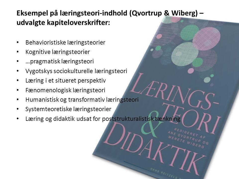 Eksempel på læringsteori-indhold (Qvortrup & Wiberg) – udvalgte kapiteloverskrifter: Behavioristiske læringsteorier Kognitive læringsteorier …pragmati