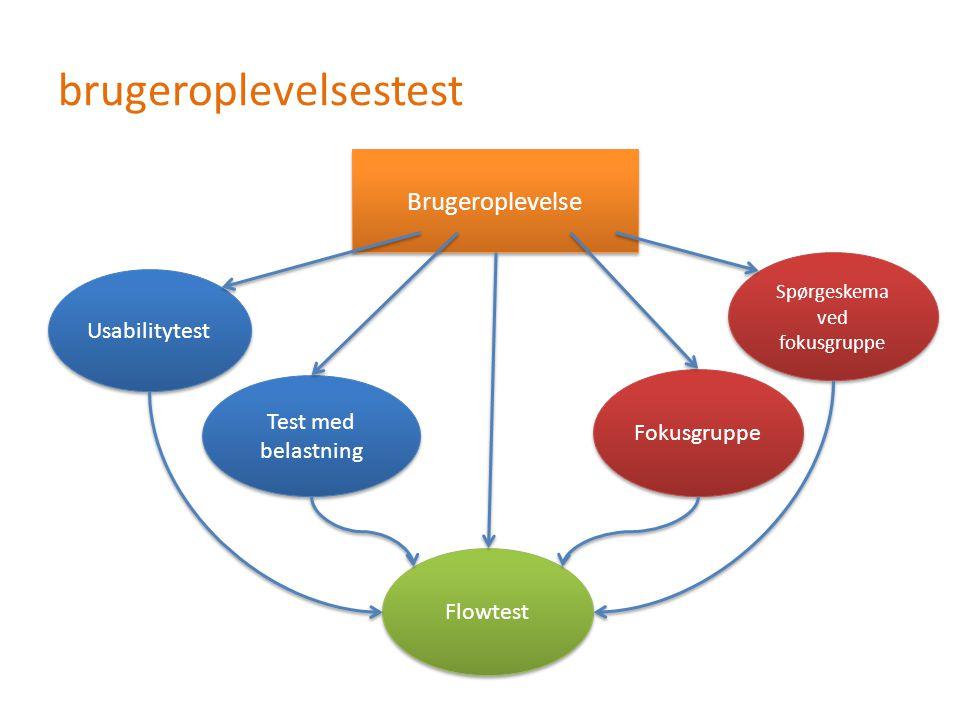 brugeroplevelsestest Brugeroplevelse Test med belastning Usabilitytest Fokusgruppe Spørgeskema ved fokusgruppe Flowtest