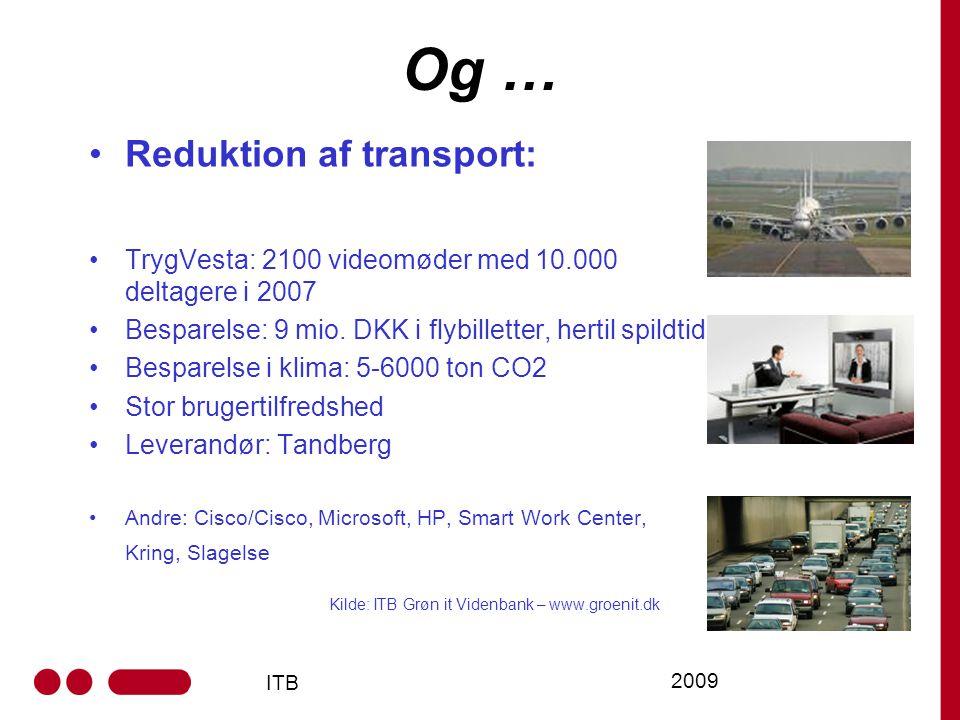 ITB 2009 Og … Reduktion af transport: TrygVesta: 2100 videomøder med 10.000 deltagere i 2007 Besparelse: 9 mio.