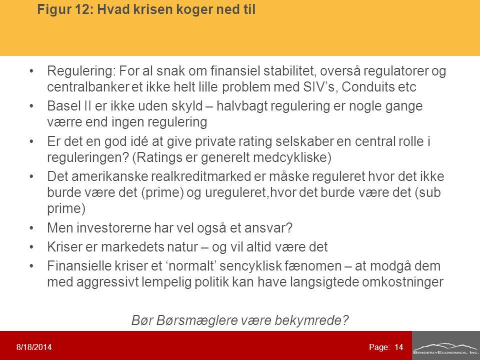 Regulering: For al snak om finansiel stabilitet, overså regulatorer og centralbanker et ikke helt lille problem med SIV's, Conduits etc Basel II er ikke uden skyld – halvbagt regulering er nogle gange værre end ingen regulering Er det en god idé at give private rating selskaber en central rolle i reguleringen.