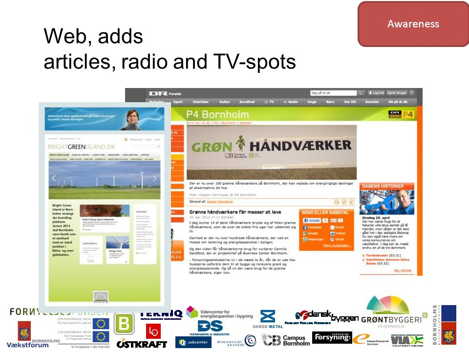 Web, adds articles, radio and TV-spots