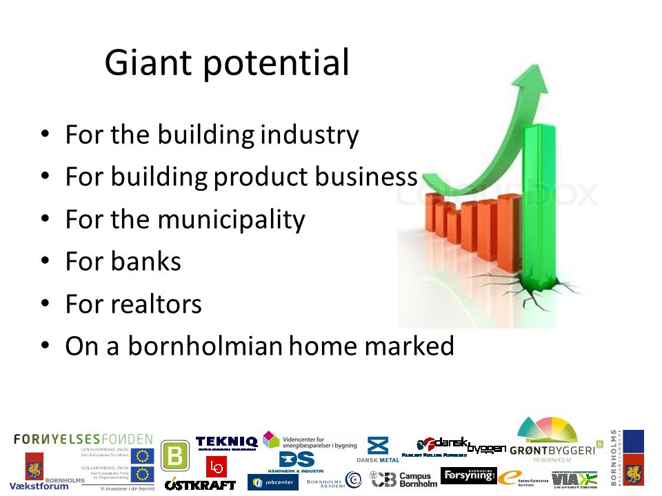 Giant potential For the building industry For building product business For the municipality For banks For realtors On a bornholmian home marked