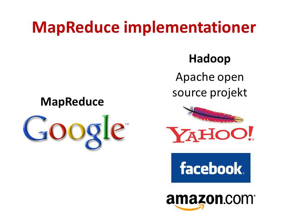 MapReduce implementationer MapReduce Hadoop Apache open source projekt