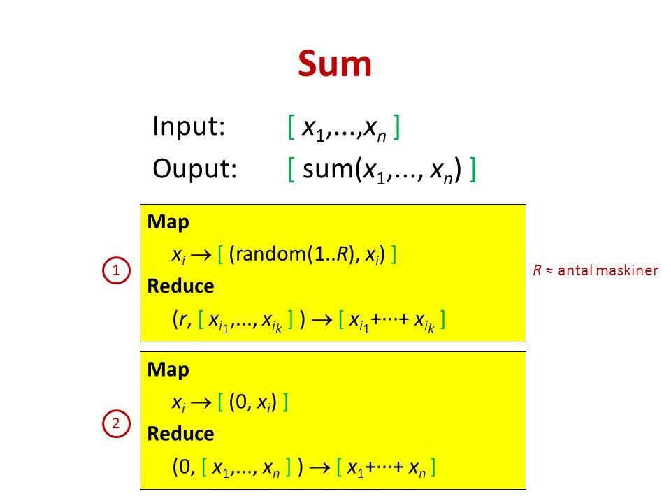 Input:[ x 1,...,x n ] Ouput:[ sum(x 1,..., x n ) ] Sum Map x i  [ (0, x i ) ] Reduce (0, [ x 1,..., x n ] )  [ x 1 +∙∙∙+ x n ] Map x i  [ (random(1..R), x i ) ] Reduce (r, [ x i 1,..., x i k ] )  [ x i 1 +∙∙∙+ x i k ] R ≈ antal maskiner 1 2