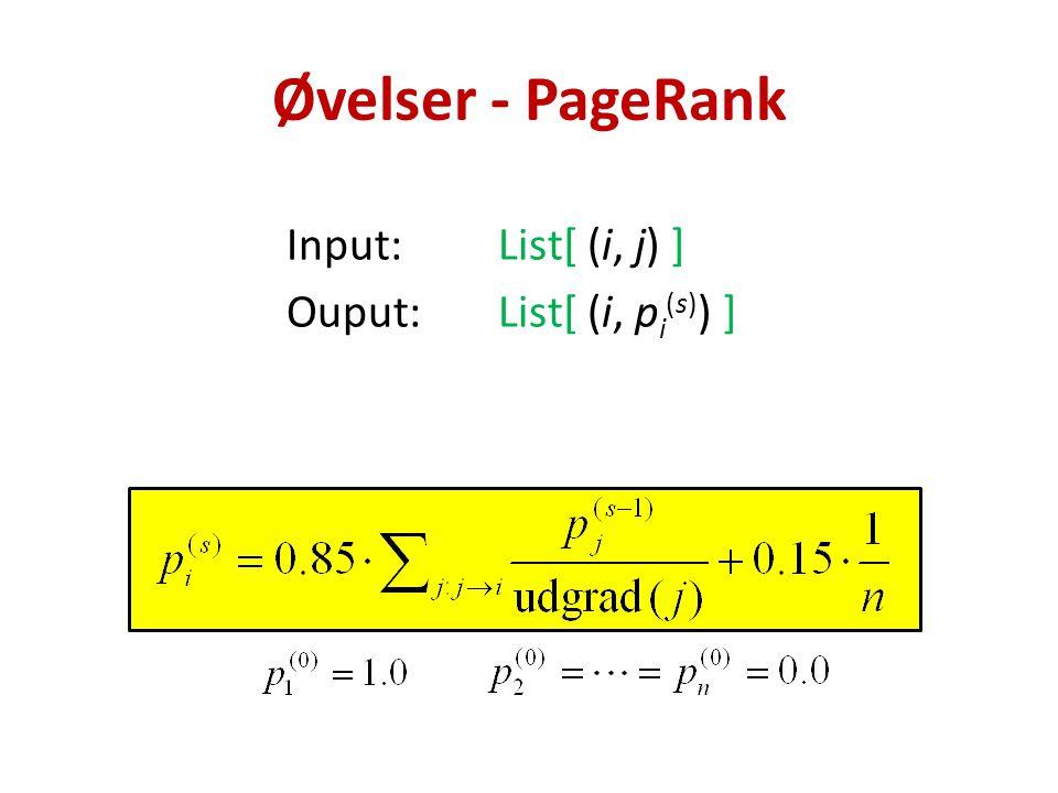 Input:List[ (i, j) ] Ouput:List[ (i, p i (s) ) ] Øvelser - PageRank