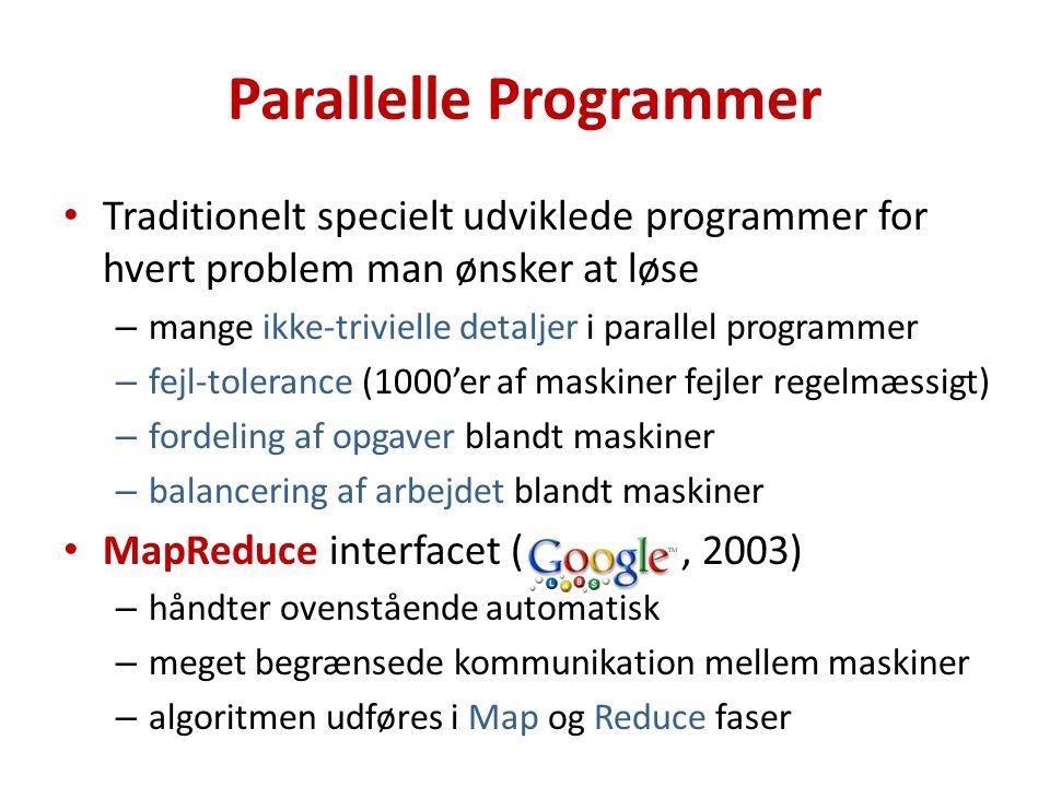 Parallelle Programmer Traditionelt specielt udviklede programmer for hvert problem man ønsker at løse – mange ikke-trivielle detaljer i parallel programmer – fejl-tolerance (1000'er af maskiner fejler regelmæssigt) – fordeling af opgaver blandt maskiner – balancering af arbejdet blandt maskiner MapReduce interfacet (, 2003) – håndter ovenstående automatisk – meget begrænsede kommunikation mellem maskiner – algoritmen udføres i Map og Reduce faser