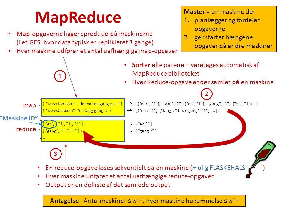Maskine ID MapReduce map reduce Map-opgaverne ligger spredt ud på maskinerne (i et GFS hvor data typisk er replikleret 3 gange) Hver maskine udfører et antal uafhængige map-opgaver 1 2 Sorter alle parene – varetages automatisk af MapReduce biblioteket Hver Reduce-opgave ender samlet på en maskine En reduce-opgave løses sekventielt på én maskine (mulig FLASKEHALS ) Hver maskine udfører et antal uafhængige reduce-opgaver Output er en delliste af det samlede output 3 Master = en maskine der 1.planlægger og fordeler opgaverne 2.genstarter hængene opgaver på andre maskiner ( www.foo.com , der var en gang en... )  [ ( der , 1 ), ( var , 1 ), ( en , 1 ), ( gang , 1 ), ( en , 1 )...