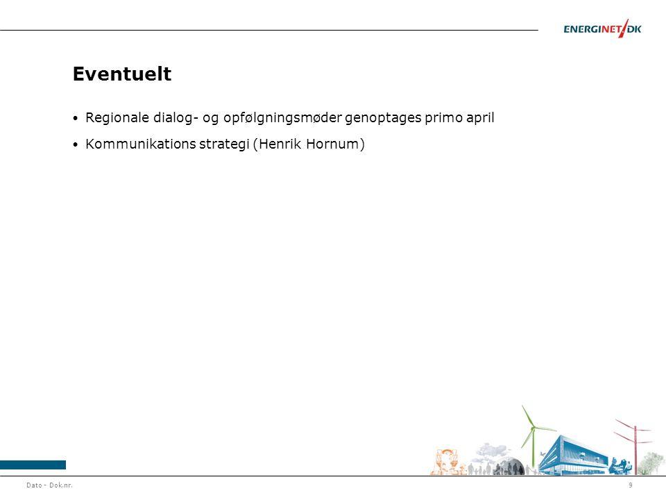 Eventuelt Regionale dialog- og opfølgningsmøder genoptages primo april Kommunikations strategi (Henrik Hornum) Dato - Dok.nr.9