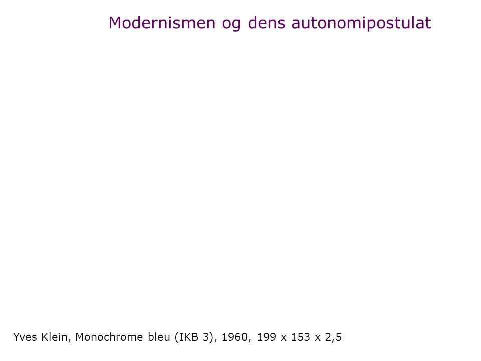 Yves Klein, Monochrome bleu (IKB 3), 1960, 199 x 153 x 2,5 Modernismen og dens autonomipostulat
