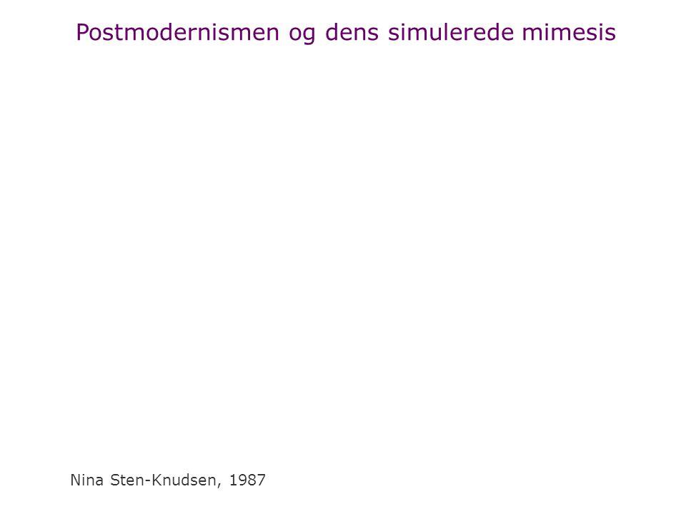 Postmodernismen og dens simulerede mimesis Nina Sten-Knudsen, 1987