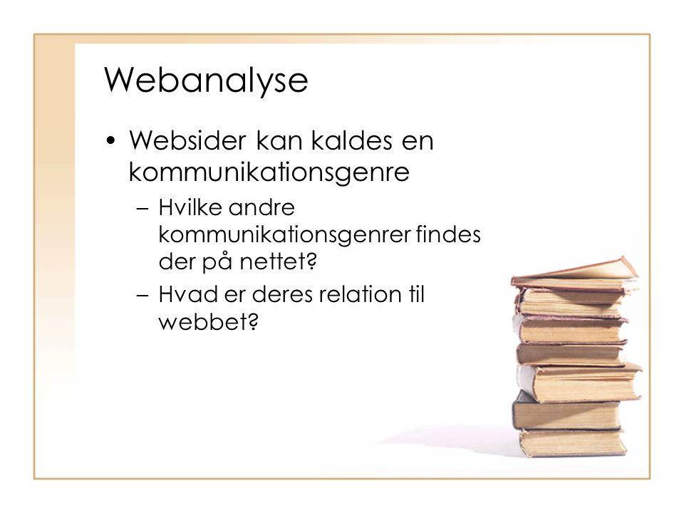 Webanalyse Websider kan kaldes en kommunikationsgenre –Hvilke andre kommunikationsgenrer findes der på nettet.