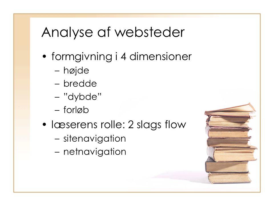 Analyse af websteder formgivning i 4 dimensioner –højde –bredde – dybde –forløb læserens rolle: 2 slags flow –sitenavigation –netnavigation