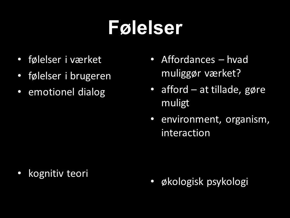 Følelser følelser i værket følelser i brugeren emotionel dialog kognitiv teori Affordances – hvad muliggør værket.