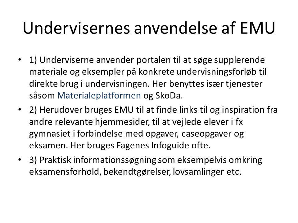 Undervisernes anvendelse af EMU 1) Underviserne anvender portalen til at søge supplerende materiale og eksempler på konkrete undervisningsforløb til direkte brug i undervisningen.