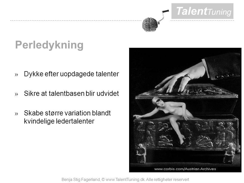 Talent Tuning Perledykning » Dykke efter uopdagede talenter » Sikre at talentbasen blir udvidet » Skabe større variation blandt kvindelige ledertalenter Benja Stig Fagerland, © www.TalentTuning.dk.