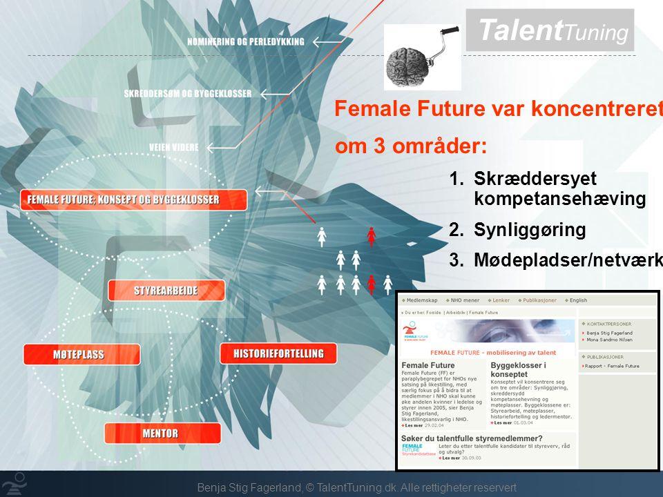 Talent Tuning Female Future var koncentreret om 3 områder: 1.Skræddersyet kompetansehæving 2.Synliggøring 3.Mødepladser/netværk Benja Stig Fagerland, © TalentTuning.dk.