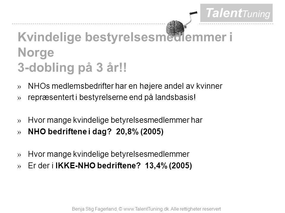 Talent Tuning Kvindelige bestyrelsesmedlemmer i Norge 3-dobling på 3 år!.