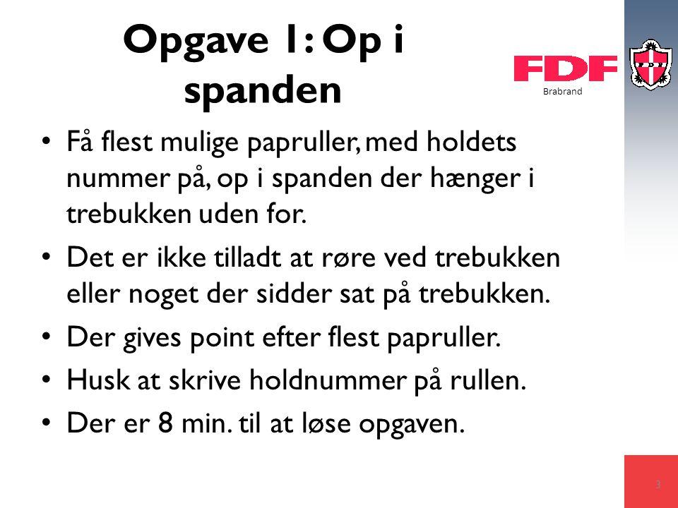 Brabrand Opgave 1: Op i spanden Få flest mulige papruller, med holdets nummer på, op i spanden der hænger i trebukken uden for.