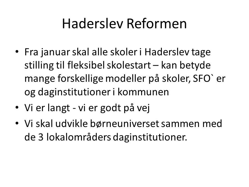 Haderslev Reformen Fra januar skal alle skoler i Haderslev tage stilling til fleksibel skolestart – kan betyde mange forskellige modeller på skoler, SFO` er og daginstitutioner i kommunen Vi er langt - vi er godt på vej Vi skal udvikle børneuniverset sammen med de 3 lokalområders daginstitutioner.