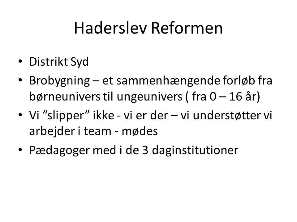 Haderslev Reformen Distrikt Syd Brobygning – et sammenhængende forløb fra børneunivers til ungeunivers ( fra 0 – 16 år) Vi slipper ikke - vi er der – vi understøtter vi arbejder i team - mødes Pædagoger med i de 3 daginstitutioner