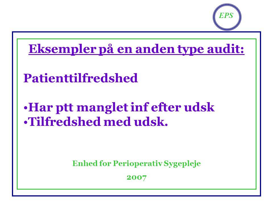 EPS Enhed for Perioperativ Sygepleje 2007 Eksempler på en anden type audit: Patienttilfredshed Har ptt manglet inf efter udsk Tilfredshed med udsk.