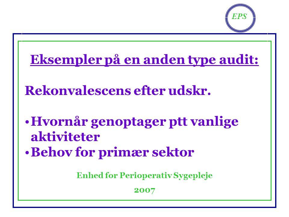EPS Enhed for Perioperativ Sygepleje 2007 Eksempler på en anden type audit: Rekonvalescens efter udskr.