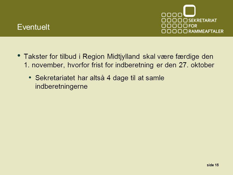Eventuelt Takster for tilbud i Region Midtjylland skal være færdige den 1.