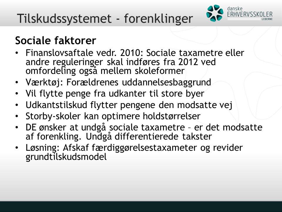 Tilskudssystemet - forenklinger Sociale faktorer Finanslovsaftale vedr.