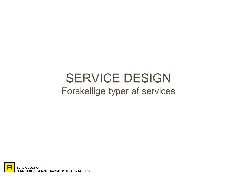 SERVICE DESIGN IT AARHUS UNIVERSITET/ARKITEKTSKOLEN AARHUS SERVICE DESIGN Forskellige typer af services