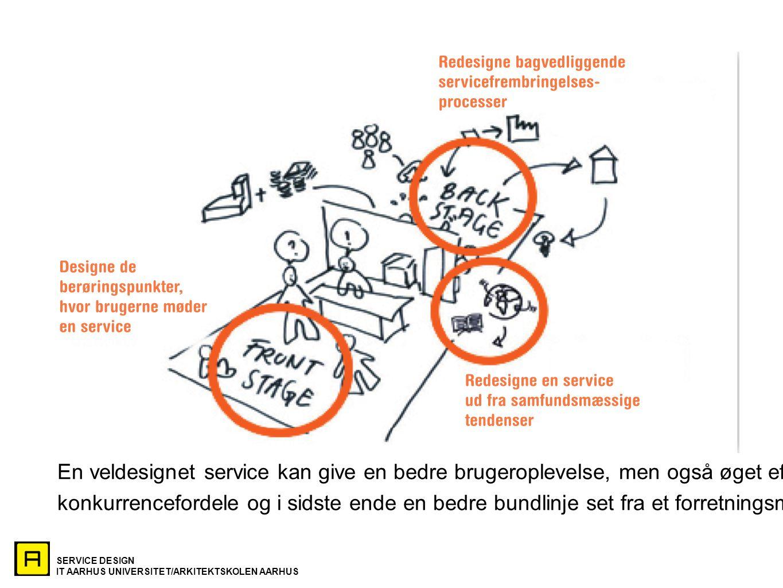 SERVICE DESIGN IT AARHUS UNIVERSITET/ARKITEKTSKOLEN AARHUS En veldesignet service kan give en bedre brugeroplevelse, men også øget effektivitet, konkurrencefordele og i sidste ende en bedre bundlinje set fra et forretningsmæssigt perspektiv.
