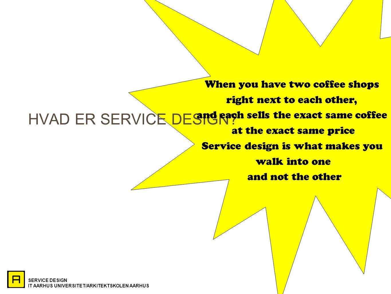 SERVICE DESIGN IT AARHUS UNIVERSITET/ARKITEKTSKOLEN AARHUS HVAD ER SERVICE DESIGN.