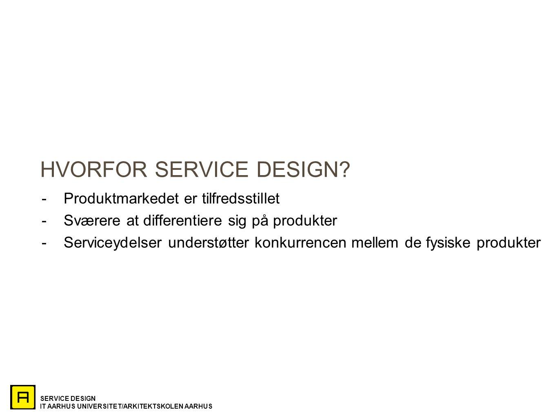SERVICE DESIGN IT AARHUS UNIVERSITET/ARKITEKTSKOLEN AARHUS HVORFOR SERVICE DESIGN.