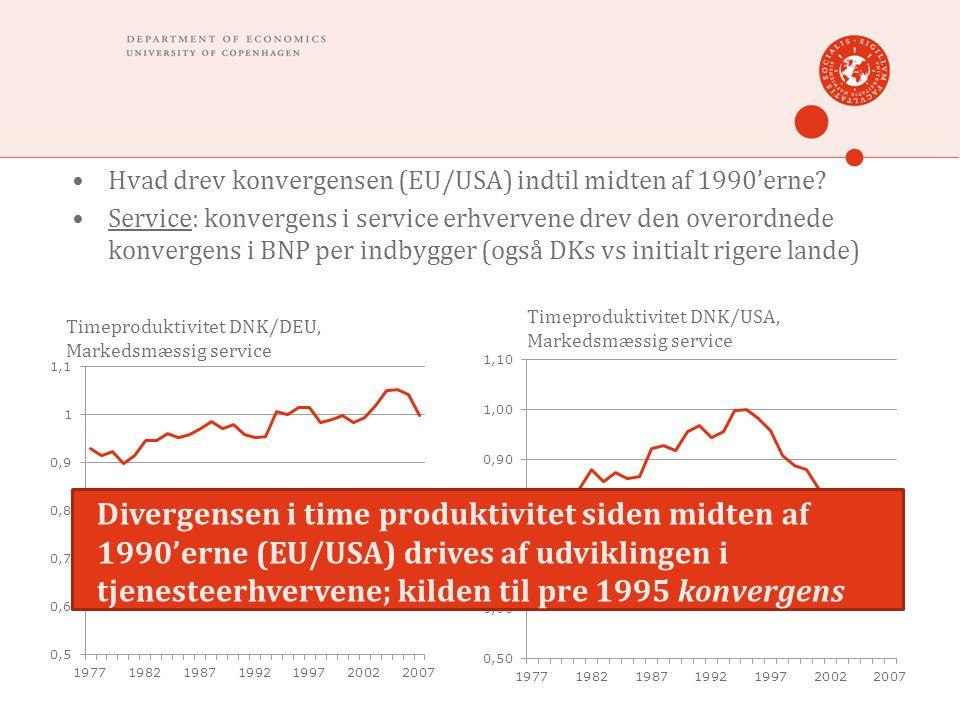 Hvad drev konvergensen (EU/USA) indtil midten af 1990'erne.