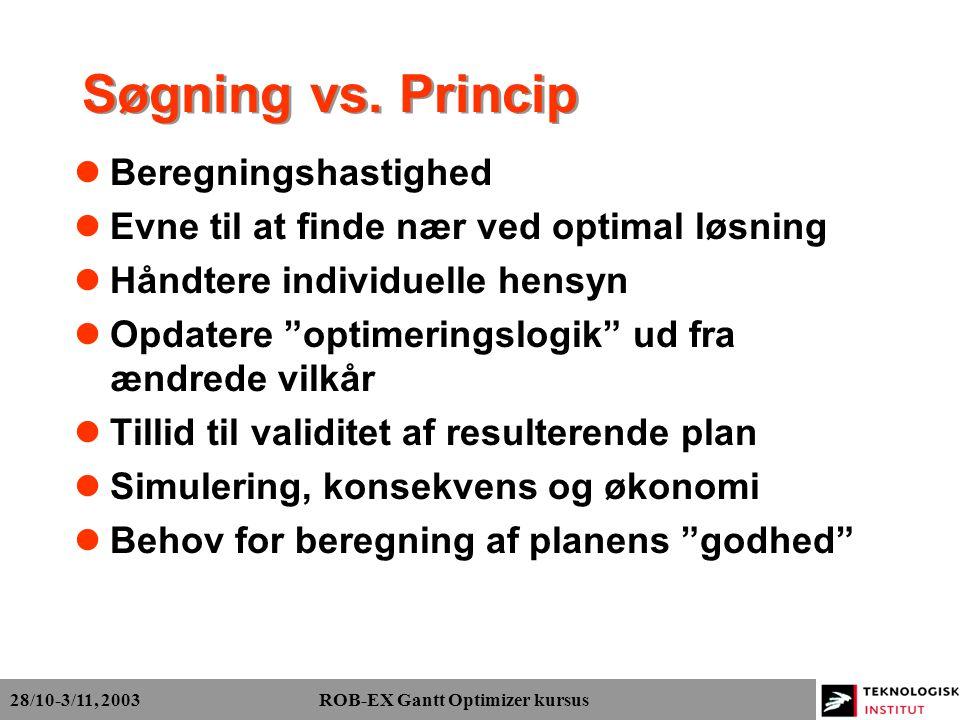 28/10-3/11, 2003 ROB-EX Gantt Optimizer kursus Søgning vs.