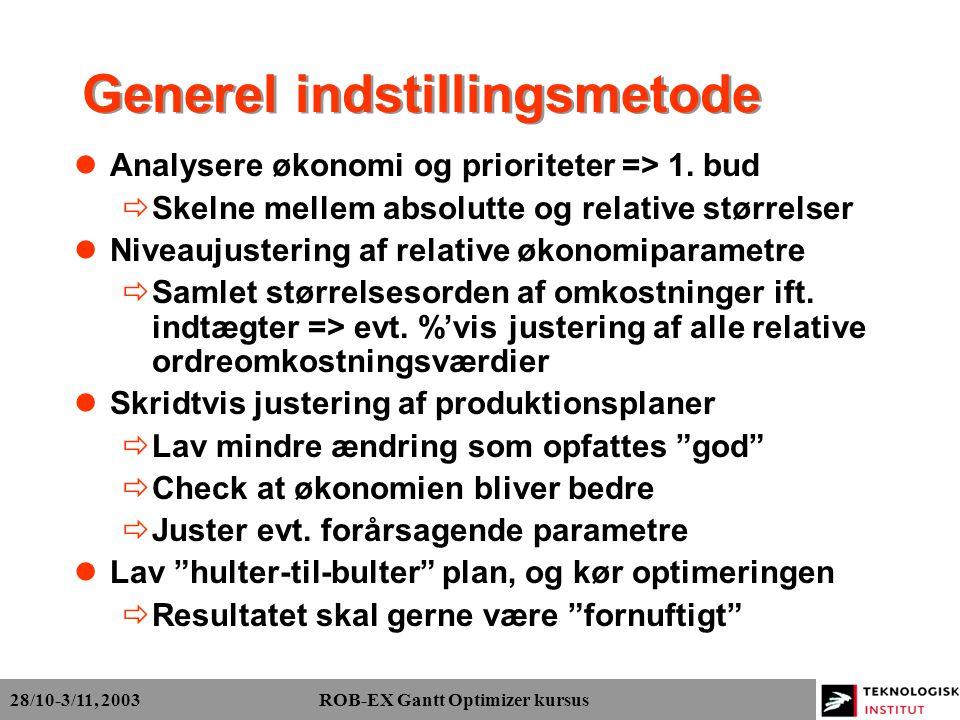28/10-3/11, 2003 ROB-EX Gantt Optimizer kursus Generel indstillingsmetode Analysere økonomi og prioriteter => 1.
