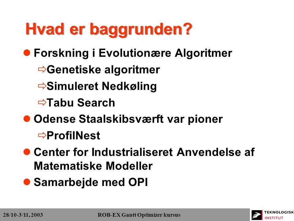 28/10-3/11, 2003 ROB-EX Gantt Optimizer kursus Hvad er baggrunden.