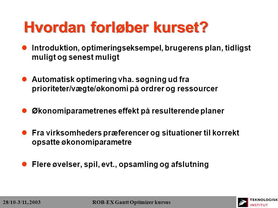 28/10-3/11, 2003 ROB-EX Gantt Optimizer kursus Hvordan forløber kurset.