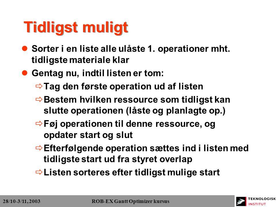 28/10-3/11, 2003 ROB-EX Gantt Optimizer kursus Tidligst muligt Sorter i en liste alle ulåste 1.