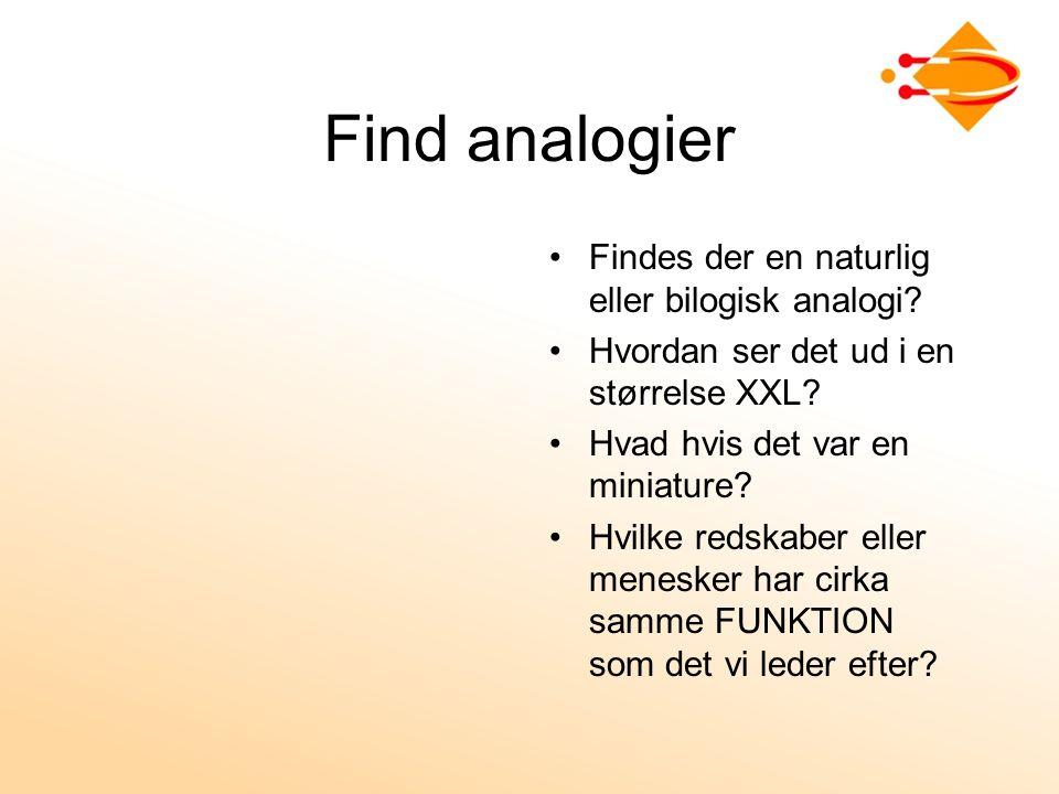 Find analogier Findes der en naturlig eller bilogisk analogi.