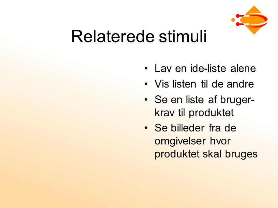 Relaterede stimuli Lav en ide-liste alene Vis listen til de andre Se en liste af bruger- krav til produktet Se billeder fra de omgivelser hvor produktet skal bruges