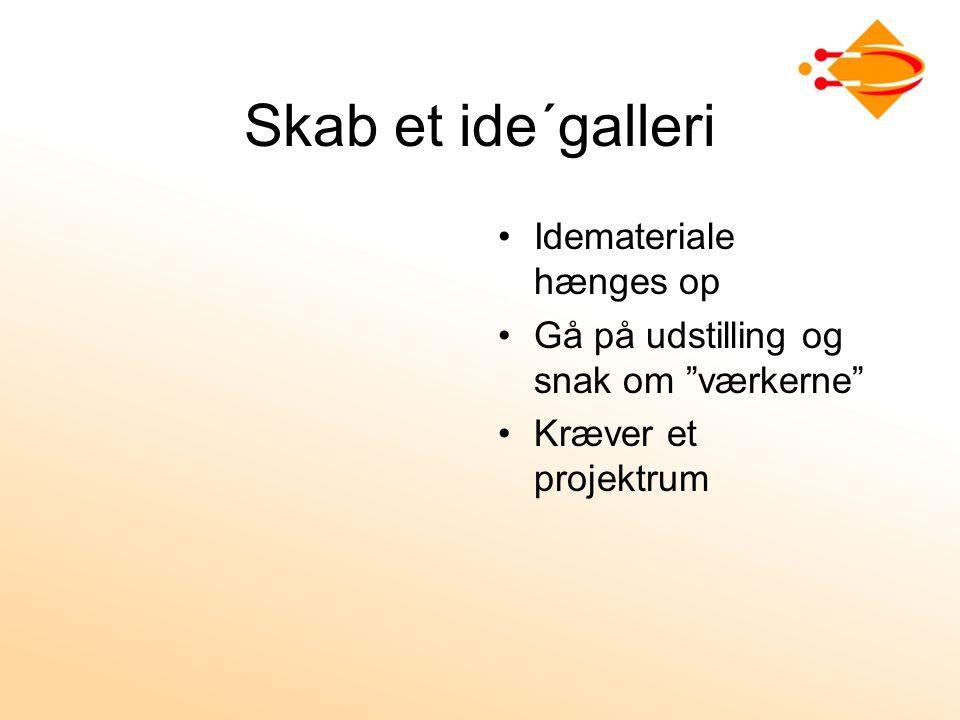 Skab et ide´galleri Idemateriale hænges op Gå på udstilling og snak om værkerne Kræver et projektrum