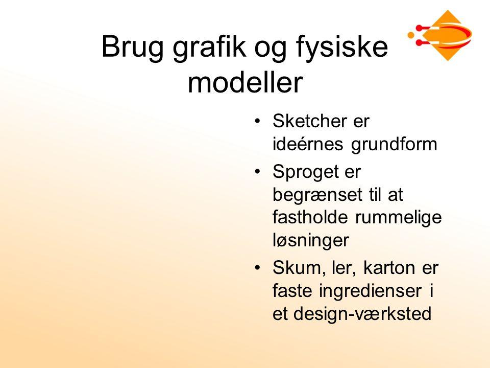 Brug grafik og fysiske modeller Sketcher er ideérnes grundform Sproget er begrænset til at fastholde rummelige løsninger Skum, ler, karton er faste ingredienser i et design-værksted