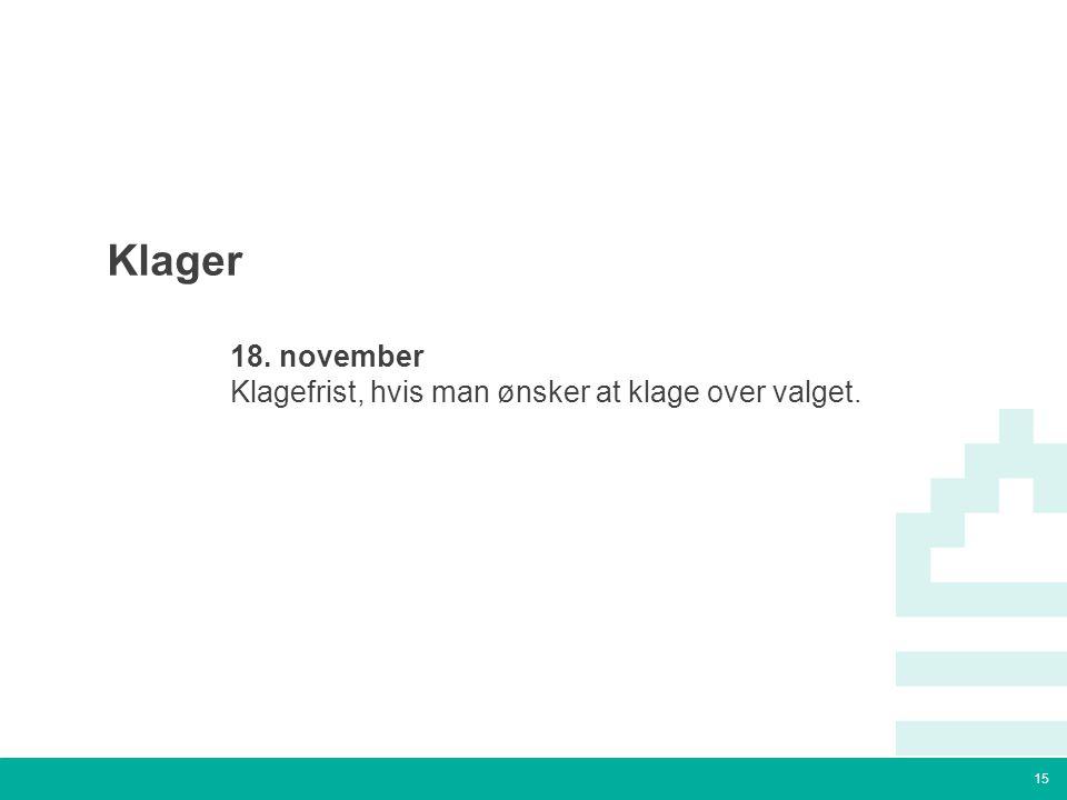 15 Tekstslide med bullets Brug 'Forøge / Formindske indryk' for at skifte mellem de forskellige niveauer Klager  18.