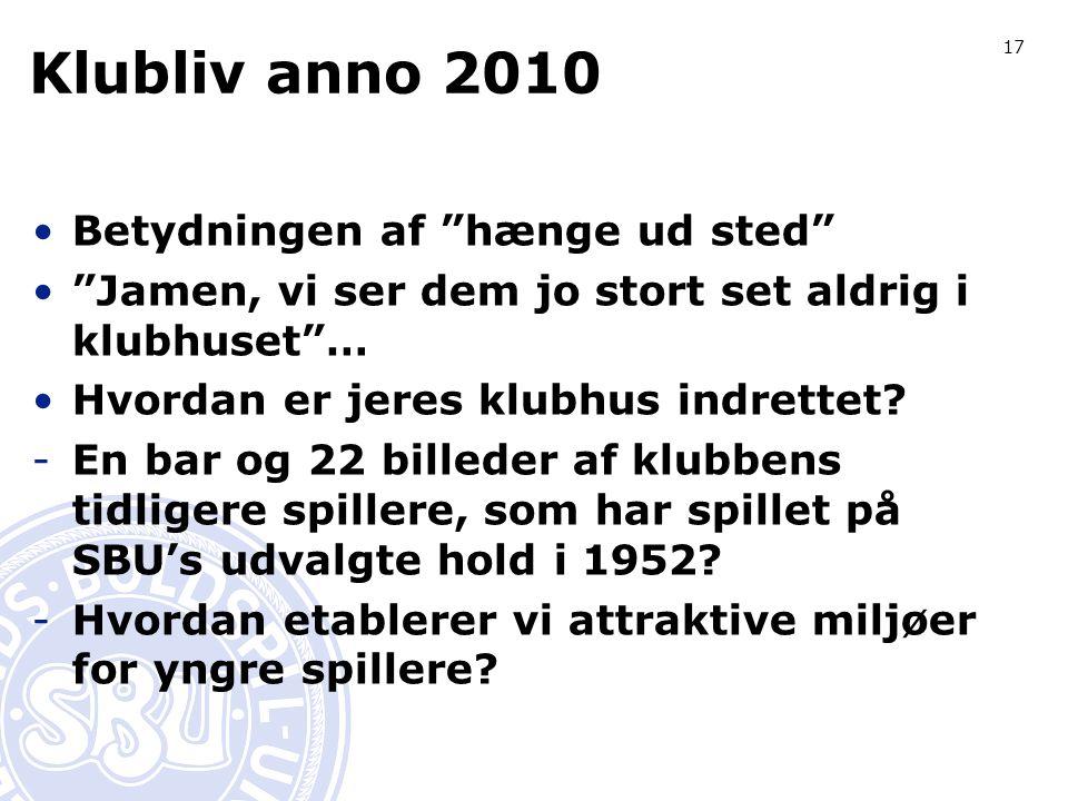 17 Klubliv anno 2010 Betydningen af hænge ud sted Jamen, vi ser dem jo stort set aldrig i klubhuset … Hvordan er jeres klubhus indrettet.