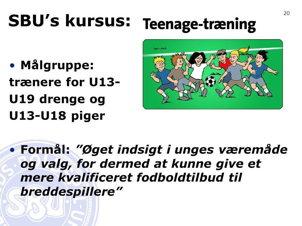 20 SBU's kursus: Målgruppe: trænere for U13- U19 drenge og U13-U18 piger Formål: Øget indsigt i unges væremåde og valg, for dermed at kunne give et mere kvalificeret fodboldtilbud til breddespillere