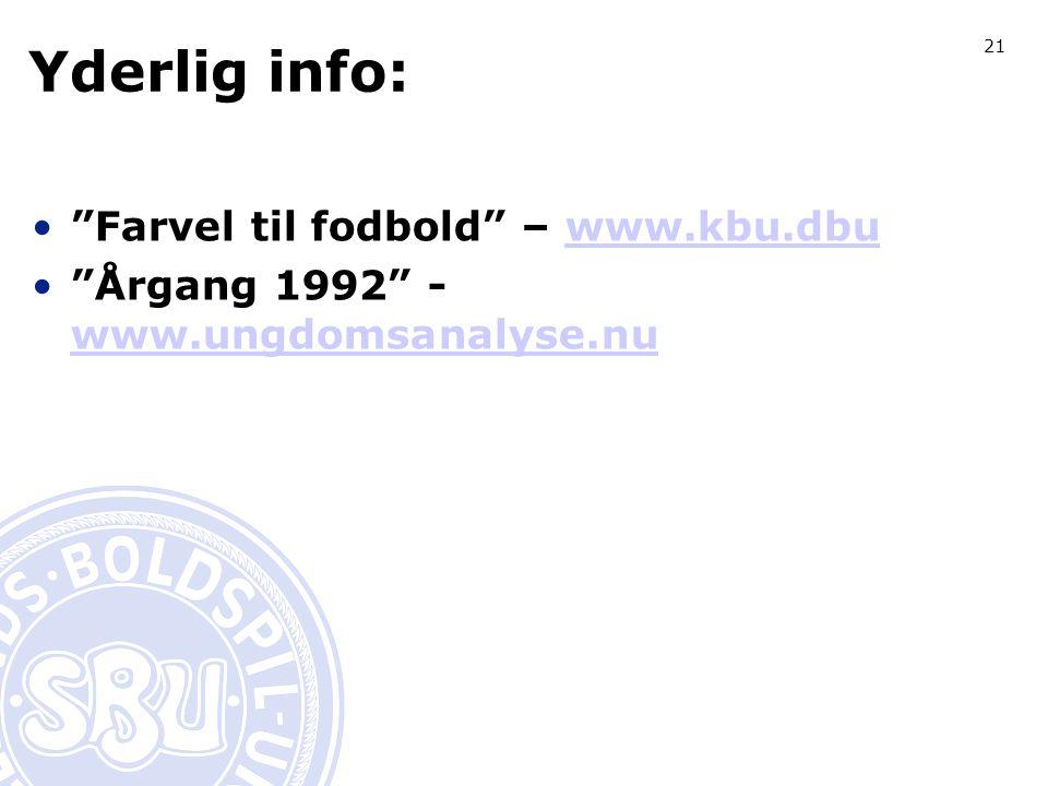 21 Yderlig info: Farvel til fodbold – www.kbu.dbuwww.kbu.dbu Årgang 1992 - www.ungdomsanalyse.nu www.ungdomsanalyse.nu