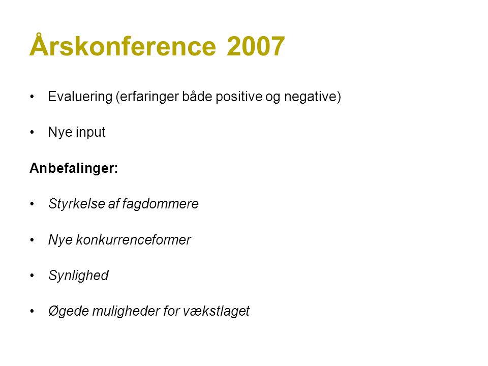 Årskonference 2007 Evaluering (erfaringer både positive og negative) Nye input Anbefalinger: Styrkelse af fagdommere Nye konkurrenceformer Synlighed Øgede muligheder for vækstlaget