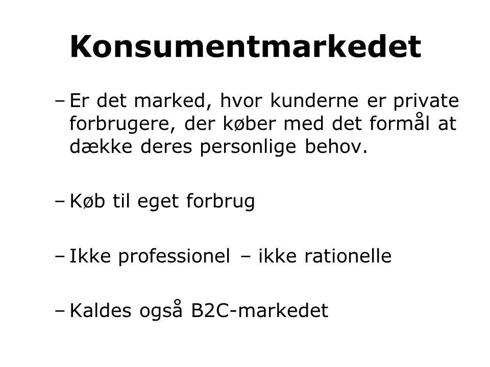 Konsumentmarkedet –Er det marked, hvor kunderne er private forbrugere, der køber med det formål at dække deres personlige behov. –Køb til eget forbrug