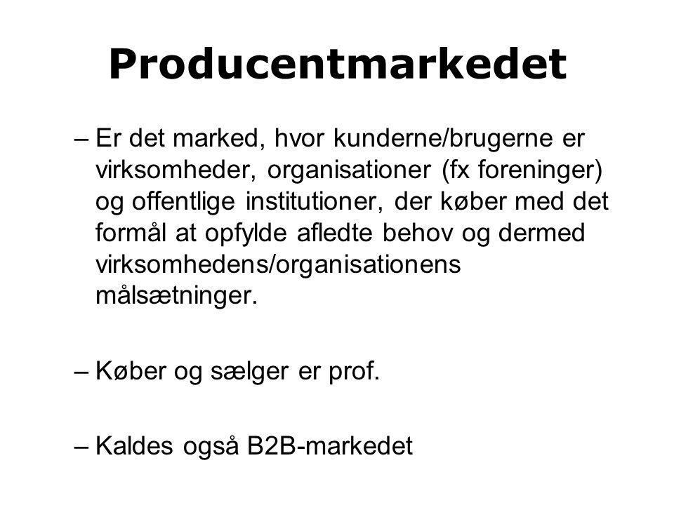 Producentmarkedet –Er det marked, hvor kunderne/brugerne er virksomheder, organisationer (fx foreninger) og offentlige institutioner, der køber med det formål at opfylde afledte behov og dermed virksomhedens/organisationens målsætninger.